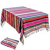 Boyigog Mantel de Mesa con Borlas, Mantel de Rayas a Estilo Méxicano, Mantel de Borlas Empalmado para Cocinas Exteriores o Interiores Mantel Mesa Rectangular(84*59inch)