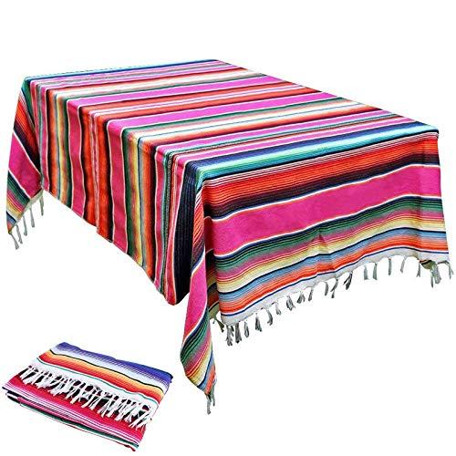 Boyigog - Mantel de Mesa con Borlas a Rayas Estilo Méxicano, Mantel de Rayas Moradas, Mantel de Borlas Empalmado para Cocinas Exteriores o Interiores Mantel Mesa Rectangular(84*59inch)