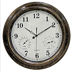 Siunwdiy Outdoor Waterproof Wall Clock with Thermometer and Hygrometer Combo,Vintage Silent Non-Ticking Battery Operated Clock Wall Decorative-18-Inch,Metallic,Metallic