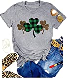 St. Patrick's Day Shirt Women Funny Buffalo Plaid Leopard Shamrock Printed Clover T-Shirt Graphic Tee(4162-Gray Clover XXL)