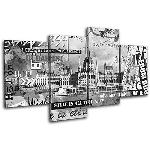 DDSDA 4 Teile Bild Auf Leinwand Leinwandbilder Budapester städtische Graffiti-Stadt Bilder XXL 4 Teile wandbild leinwandbilder Kunstdrucke 4 Teiliges Wandbild Mit Rahmen