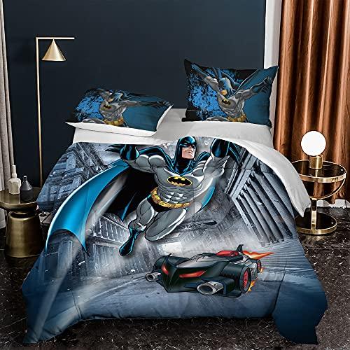 Batman Tagesdecke Wohndecke Mikrofaser Gesteppter Bettdecke Stepp Decke als Schlafzimmer Steppdecke mit 2 * 50x75 cm Kissenbezug für Bett (07,220x240)