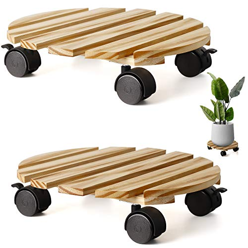 KarNeey 2 Pack Plant Caddy Wooden 12'' Plant Stand Duty Round Plant Roller with 360° Plant Stand with Wheels for Indoor Outdoor on Roller Patio/Flower Pot