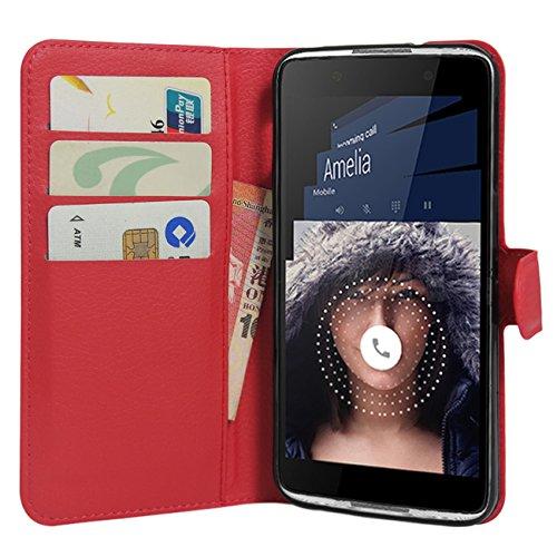 HualuBro Alcatel Idol 4 Hülle, Premium PU Leder Leather Wallet Handyhülle Tasche Schutzhülle Case Flip Cover mit Karten Slot für Alcatel Idol 4 Smartphone (Rot)
