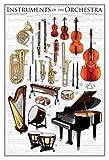 Educational - Bildung Musikinstrumente - Instruments of The Orchestra Bildungsposter Plakat Druck - Maxiposter Version in Englisch - Grösse 61x91,5 cm