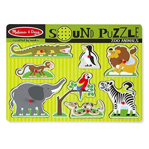 Melissa & Doug Soundpuzzle mit Zootieren (Steckpuzzle aus Holz, Soundeffekte, 8 Teile)