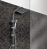 Grafner Regendusche im Set incl. Kopfbrause, Handbrause, Schlauch, Stange und Anschluss-Set Duschset Duschsystem Duschgarnitur eckig