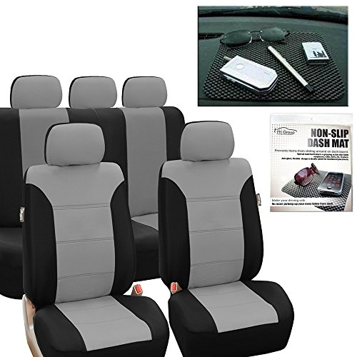 FH Group FB065115 Classic Khaki Seat Covers (Gray) Full Set with Gift – Universal Fit for Cars Trucks & SUVs