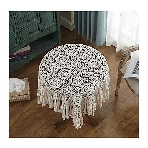 Mantel de Mesa Cubierta de mesa de tasel de lujo Mantel de encaje Crochet...