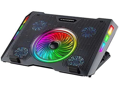 """ICE COOREL Base di Raffreddamento PC Portatili, Dispositivo Raffreddamento PC Portatile con Illuminazione RGB per Laptop 11-15.7"""", 5 Ventole a Forte Flusso d'Aria, 5 Regolabile in Altezza"""