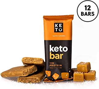 Perfect Keto Bar, Keto Snack (12 Count), No Added Sugar. 10g of Protein, Coconut Oil, and Collagen, with a Touch of Sea Salt and Stevia. (12 Bars, Salted Caramel)