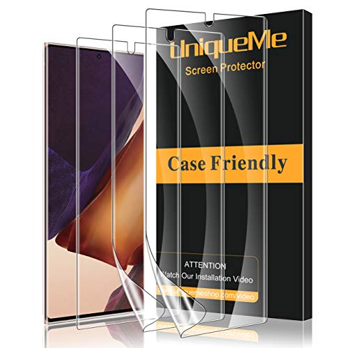 UniqueMe [3 Pack] Protector de Pantalla para Samsung Galaxy Note 20 Ultra (6.9 Pulgada) 4G / 5G, [Fácil instalación] [Huella Digital Disponible] HD Clear TPU Case Friendly de Cobertura Completa