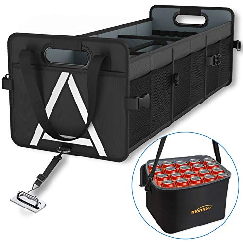 Car Trunk Organizer with Insulated Cooler Bag Removable 3 Compartments Black Large Storage CapacityReinforced Durable Handles3 Adjustable StrapsNoSlip Velcro of Bottomfor SUVTruckAutomotive