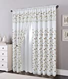 Elegant Comfort Luxury Curtain/Window Panel Set with Attached Valance and Backing 54' X 84 inch (Set of 2), White