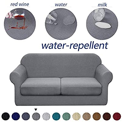 Granbest 3 Piece Premium Water-Repellent Couch Slipcover for 2 Cushion Couch Super Soft Loveseat Sofa Covers High Stretch Separate Cushion Couch Covers for Dogs Furniture Cover (Medium, Light Gray)