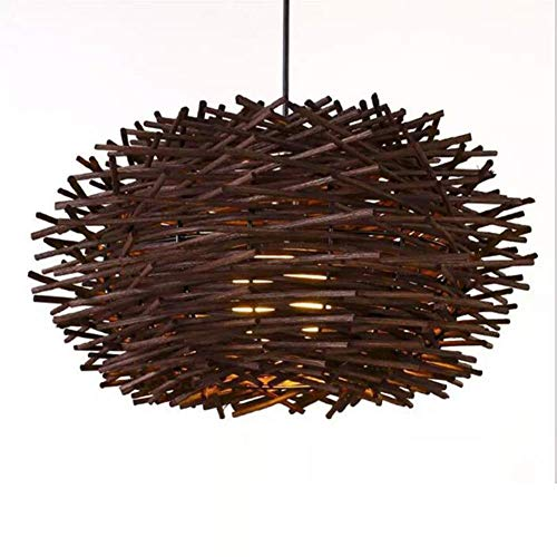 YANGQING Light Lamp LED Ceiling Lights, Idyllic Woven Rattan Ball Bird's Nest Chandelier Living Room Teahouse Bedroom Balcony Restaurant Rattan Lamps,Brown,Colour:Hemp (Color : Brown)