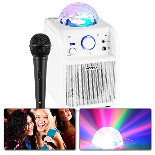 Vonyx SBS50W Karaokeset met Microfoon, Bluetooth en Discolamp - Wit