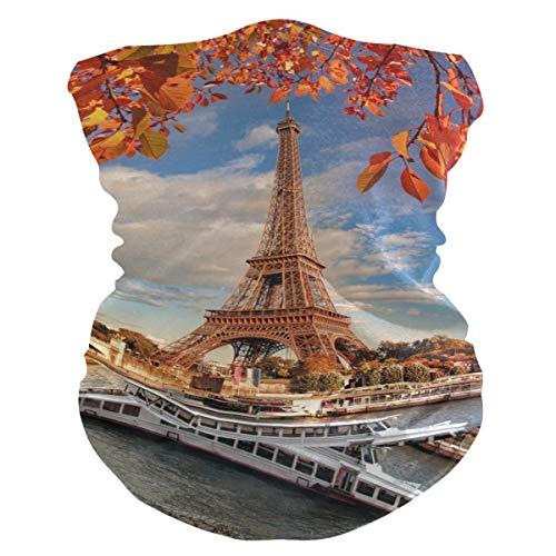 LZXO Bandana con diseño de la Torre Eiffel de Francia, hoja de arce, sin costuras, para exteriores, pasamontañas, cubierta para cuello, bufanda, para protección contra el polvo, el viento y el sol