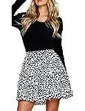 Relipop Women's Flared Short Skirt Polka Dot Pleated Mini Skater Skirt with Drawstring (T2, Large)