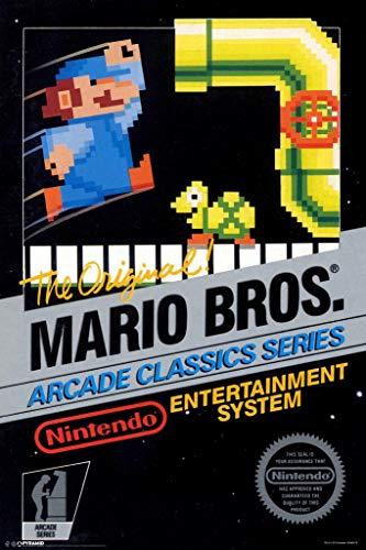 Pyramid America Mario Brothers Arcade Classic Series Nintendo NES Game Series Vintage Box Art Print Laminated Dry Erase Sign Poster 12x18