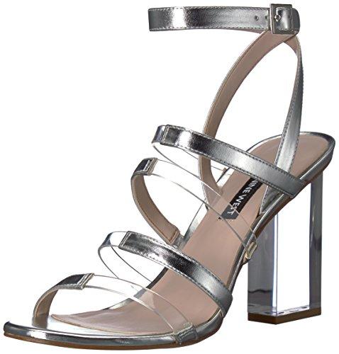 NINE WEST Women's FAZZANI Synthetic Heeled Sandal, Silver, 10.5