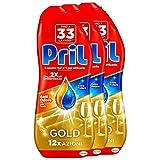 Pril Gold Gel Lavastoviglie Aceto Detersivo, 3 Confezioni da 33 Lavaggi
