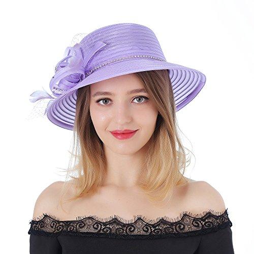 DANTIYA Women's Kentucky Derby Bowler Church Cloche Hat Bling Bing Organza Bridal Dress Cap (Purple, One Size)