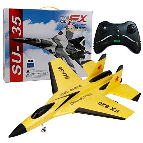 WXZQ Avión de Control Remoto de ala Fija RC Fighter Resistente al Modelo de Choque Planeador de Espuma Batería reemplazable Amarillo