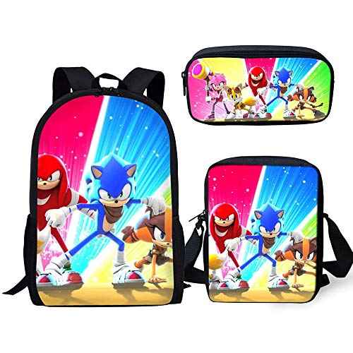 YUNDI Sonic Backpack School Bags 3pc/set Cartoon 3d Sonic The Hedgehog Printing Boys Girl Student Backpack Book Pencil Bag