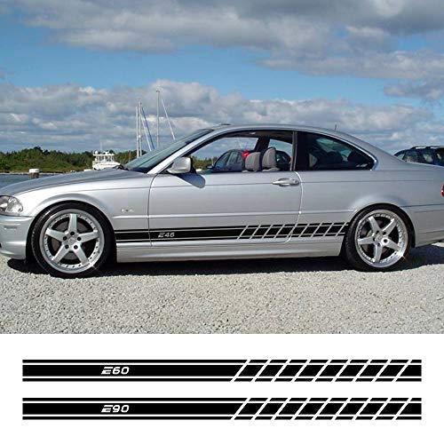 FSXTLLL 2 STÜCKE Autotür Seitenschweller Streifen Aufkleber Auto Trim Decals Auto Decor Decals, Für BMW E46 3 Serie E30 E34 E36 E39 E60 E70 E87 E90 E91 E92