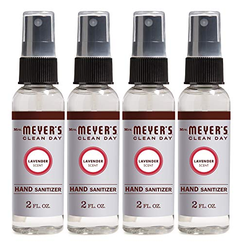 Mrs. Meyer's Clean Day Antibacterial Hand Sanitizer Spray, Removes 99.9% of Bacteria on Skin, Lavender Scent, 2 oz - Pack of 4