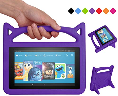 2019 F i r e 7 inch case Kids Light Weight Shock Proof Handle and foldable stand Case for A m a z o n F i r e 7 Tablet (7' Display -Compatible 2017 and 2015 F i r e 7) - Purple