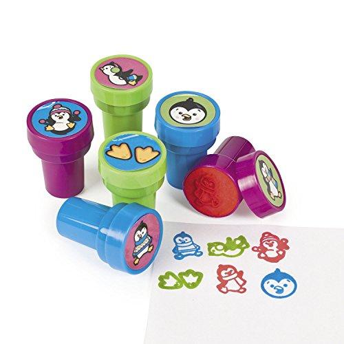 cama24com Kinderstempel Pinguin bunt und lustig 6 Stück Stempel Mitgebsel mit Palandi® Sticker