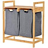 ToiletTree Products Bamboo Laundry Hamper with Dual Compartments – Two-Section Laundry Basket with Removable Sliding Bags & Shelf – Wooden Bamboo Laundry Organizer Cabinet for Bathroom