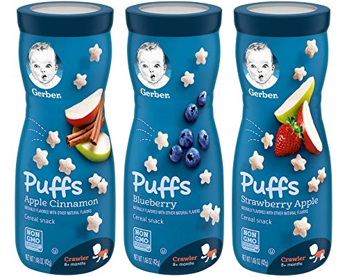 Gerber Puffs Cereal Snack Variety Pack - 1 Apple Cinnamon, 1 Blueberry, 1 Strawberry Apple - 1.48 OZ Each (Pack of 3)