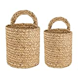 MOVKZACV 2 cestas de almacenamiento tejidas para colgar en la pared, decoración del hogar, dormitorio, pasto marino, cestas de almacenamiento para ahorrar espacio, cestas de jardín