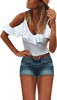 GiletSexy T-Shirt Manches Courtes Femmes Solide d/écontract/é sans Bretelles Chemisier Vrac sans Hauts Madame /Épaule Tops