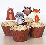 24 Woodland Animal Cupcake Toppers + 24 Wrappers - Red Fox Tail inc