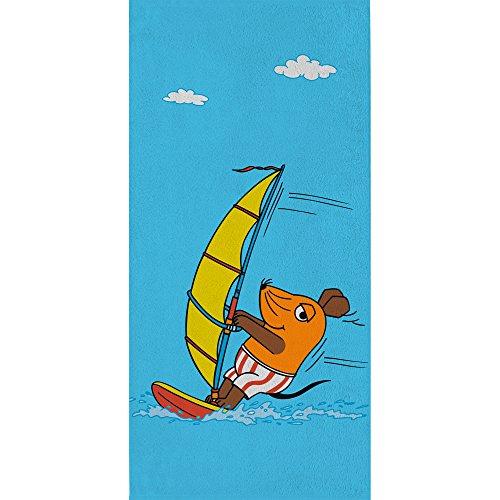 Großes Badetuch Die Sendung mit der Maus - Motiv Surfen - 75 x 150 cm 100% Baumwolle Strandlaken Badelaken Handtuch Strandtuch Saunatuch Maus + kleiner blauer Elefant + Ente passend zur Bettwäsche