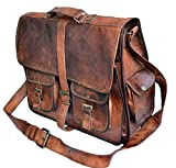 TUZECH Rustic Big Pocket Pure Leather Bag Office Satchel Bag - Fits Laptop Upto (18 Inches)
