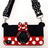 iPhone XR Case Cute iPhone XR Case Minnie Mouse 3D Carton Camera with Rotating Ring Grip Holder Kickstand Lanyard Teens Girls Women Kids Soft Silicone Rubber Phone Case Cover for iPhone XR -6.1' (XR)