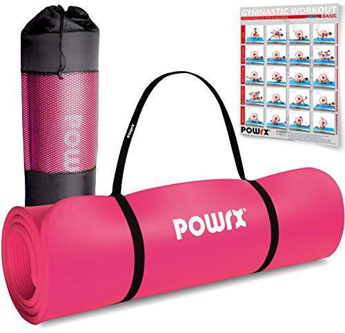 POWRX Gymnastikmatte Premium inkl. Trageband + Tasche + Übungsposter GRATIS I Hautfreundliche Fitnessmatte Phthalatfrei 190 x 60, 80 oder 100 x 1.5 cm (Pink, 190 x 60 x 1.5 cm)