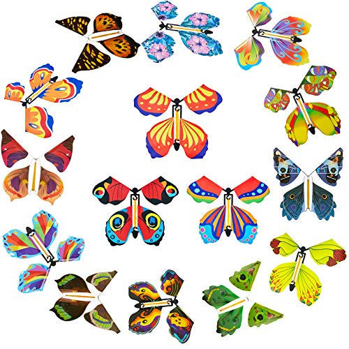30 Pieces Magic Fairy Flying Butterfly Rubber Band Powered Butterfly Wind up Fairy Butterfly Toy for Surprise Gift or Party Playing (Vivid Style)