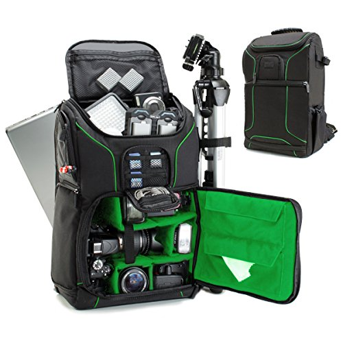 USA Gear DSLR Kamerarucksack, Foto Rucksack Anti-Shock Kameratasche mit 43,18 cm Laptop-Tasche, wasserdichte Abdeckung, Verstellbare Linse Lagerung & Stativhalter - Grün
