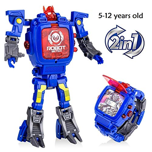 YuWei Smart Robot Toys Watch Kids 2 in 1 Electronic Transformers Toys Watch Deformed Robot Toys Children's Gift 5-12 Years Old Boys and Girls(Blue)