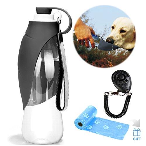 YAMI Haustier Reise Wasser Flaschen erweiterbarer Silikon Hundewasser Flaschen Zufuhr mit freiem Hundetraining Clicker- und Hundeabfall Poop Taschen (Grau)