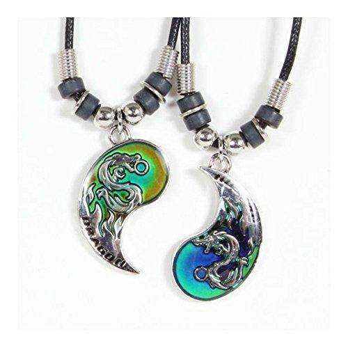 SKEMIX Best Friend Mood Dragon Yin Yang 2 Pendants Necklace Set BFF Friendship