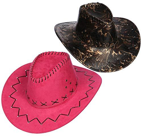 com-four® 2-teiliges Cowboy-Hut Set für Cowboys und Cowgirls - Westernhut im Kroko-Look und in pink - Kopfbedeckung zu Karneval, Fasching, Halloween, Mottopartys (02 Stück - Cowboy Mix)