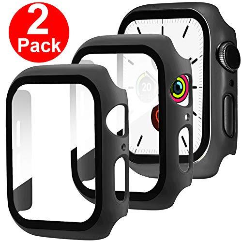 Miimall [2 Stück Kompatibel mit Apple Watch Series 5/4 Schutzfolie, iWatch 44mm Schutzhülle, Ultradünne PC Hülle mit Displayschutz Panzerglas All Around Case für Apple Watch 44mm