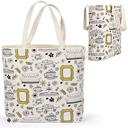 Brital Friends Grocery Tote Bag Yellow Frame Peephole Friends TV Show Merchandise Kitchen Grocery Reusable Bag Shopping Cotton Washable Tote Bags Beige